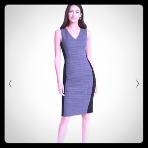 Body Perfecting Colorblock Plaid Sheath Dress